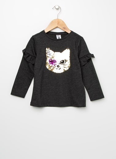 Koton Koton Pul İşlemeli Antrasit T-Shirt Antrasit